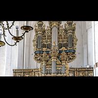 Gdansk (Danzig), Bazylika Mariacka (St. Marien), Prospektpfeifen des Rückpositivs und des Hauptorgelgehäuses