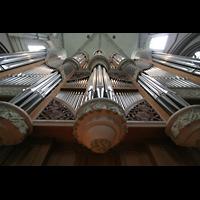 Münster, Dom St. Paulus, Blick vom Spieltisch auf den Orgelprospekt