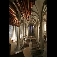 Münster, St. Lamberti (Chororgel), Innenraum mit Trompeteria