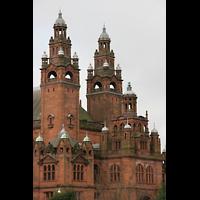 Glasgow, Kelvingrove Museum, Concert Hall, Außenansicht Türme