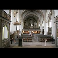 Wittenberg, Stadtkirche, Innenraum / Hauptschiff in Richtung Orgel