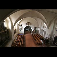 Basedow, Dorfkirche, Blick von der Orgelempore in die Kirche