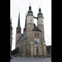 Halle (Saale), Marktkirche unserer Lieben Frauen (Hauptorgel), Doppelturmfassade vom Marktplatz aus
