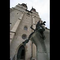 Halle (Saale), Marktkirche unserer Lieben Frauen (Chororgel), Doppelturmfassade vom Hallmarkt aus