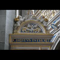 Halle (Saale), Marktkirche unserer Lieben Frauen (Hauptorgel), Inschrift über der Kanzeltür