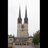 Halle (Saale), Marktkirche unserer Lieben Frauen (Hauptorgel), Hallmarkt mit Türmen der Marktkirche