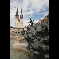 Halle (Saale), Marktkirche unserer Lieben Frauen (Chororgel), Brunnen am Hallmarkt mit Marktkirche