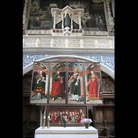 Halle (Saale), Marktkirche unserer Lieben Frauen (Chororgel), Altar und kleine Orgel