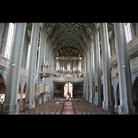 Halle (Saale), Marktkirche unserer Lieben Frauen (Chororgel), Innenraum / Hauptschiff in Richtung Hauptorgel