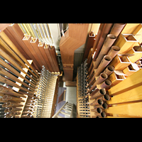 Köln, Jesuitenkirche St. Peter, Pfeifen des Koppelwerks und 'untere Etagen' der Orgel