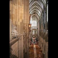 Köln, Dom St.Peter und Maria (Truhenorgel), Blick vom Domumgang auf die Hochdrucktuben und die Langhausorgel