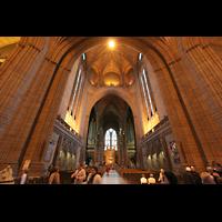 Liverpool, Anglican Cathedral (Hauptorgelanlage), Innenraum / Hauptschiff in Richtung Chor