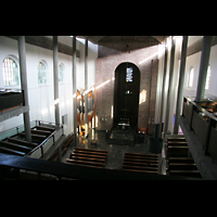 Karlsruhe, Stadtkirche (Chororgel), Blick von der Orgelempore in die Kirche