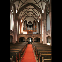 Frankfurt am Main, Dreikönigskirche, Innenraum / Hauptschiff in Richtung Orgel