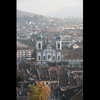Luzern, Jesuitenkirche St. Franz Xaver (Hauptorgel), Ansicht von der Stadtmauer (Musegg) aus