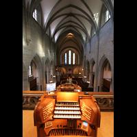 Zürich, Fraumünster, Spieltisch mit Blick zum Chor