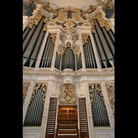 Sankt Urban (St. Urban), Klosterkirche, Orgelprospekt mit Spieltisch