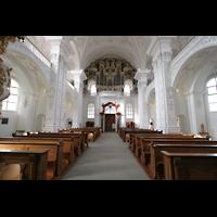 Sankt Urban (St. Urban), Klosterkirche, Innenraum / Hauptschiff in Richtung Orgel
