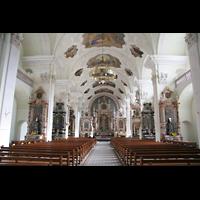 Engelberg, Klosterkirche (Hauptorgel), Innenraum / Hauptschiff in Richtung Chor