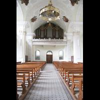 Engelberg, Klosterkirche (Hauptorgel), Innenraum mit Blick zur Hauptorgel