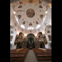 Muri, Klosterkirche (Chorpositiv), Innenraum mit Orgeln, beleuchtet