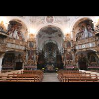 Muri, Klosterkirche (Chorpositiv), Evangelien- und Epistelorgel mit Chorraum, beleuchtet