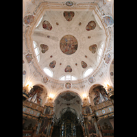 Muri, Klosterkirche (Chorpositiv), Evangelien- und Epistelorgel mit Kuppel, beleuchtet