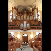Horgen, Reformierte Kirche, Blick vom Altarraum zur Orgel