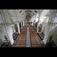 Engelberg, Klosterkirche (Hauptorgel), Hauptschiff von der Orgelempore aus