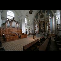 Engelberg, Klosterkirche (Hauptorgel), Chorraum mit Chororgel