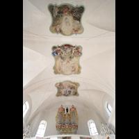 Näfels, St. Hilarius, Decke mit Orgel