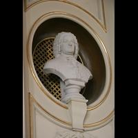 Berlin - Pankow, Hoffnungskirche, Bach-Büste im Orgelprospekt