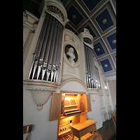 Berlin - Pankow, Hoffnungskirche, Spieltisch mit Orgel