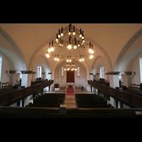 Berlin (Lichtenberg), Kirche zur frohen Botschaft, Karlshorst (Amalien-Orgel), Blick von der Orgelempore in die Kirche