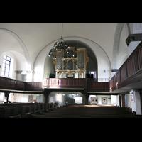 Berlin (Lichtenberg), Kirche zur frohen Botschaft, Karlshorst (Amalien-Orgel), Innenraum / Hauptschiff in Richtung Orgel