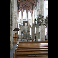 Wesel, Willibrordi-Dom, Innenraum / Hauptschiff in Richtung Chor und Orgel