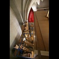 Magdeburg, Dom St. Mauritius und Katharina (Hauptorgel), Blick vom Orgeldach ins Pedalwerk