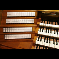 Bremen, Dom St. Petri (Klop-Orgel), Linke Registerstaffel am Spieltisch