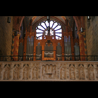 Bremen, Dom St. Petri (Klop-Orgel), Orgelempore mit Figuren