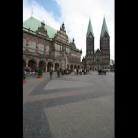 Bremen, Dom St. Petri (Klop-Orgel), Am Markt - Blick auf Rathaus und Dom