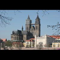 Magdeburg, Dom St. Mauritius und Katharina (Hauptorgel), Außenansicht von der Elbe aus