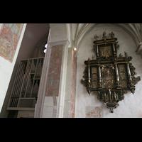Braunschweig, Dom St. Blasii (Hauptorgel), Epitaph Dekan Valerius Möller im nördlichen Seitenschiff mit Blick zur Orgel