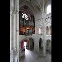Laon, Cathédrale Notre-Dame, Blick von der Seitenempore auf die Orgelempore