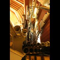 Berlin (Tiergarten), Philharmonie, Blick von oben ins Hauptwerk und Pedal