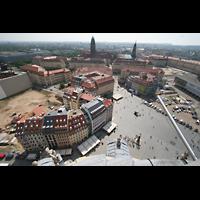 Dresden, Kreuzkirche, Blick von der Kuppel der Frauenkirche zur Kreuzkirche