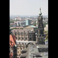 Dresden, Kathedrale Ss. Trinitatis (ehem. Hofkirche), Kathedrale von der Kuppel der Frauenkirche aus