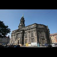 Dresden, Kreuzkirche, Außenansicht mit Hauptportal