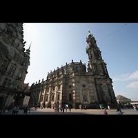 Dresden, Kathedrale Ss. Trinitatis (ehem. Hofkirche), Turm und Seitenansicht
