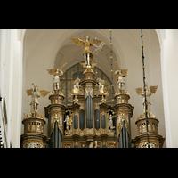 Stralsund, St. Marien, Figuren auf dem Orgelprospekt