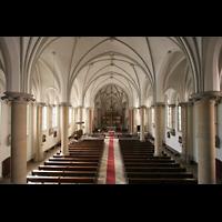 Berlin (Prenzlauer Berg), Ss.Corpus Christi Kirche, Blick vom Spieltisch in die Kirche